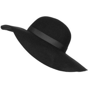 NWT Topshop Black Felt Wide Brim Floppy Hat
